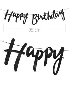 Aviso de happy birthday en letra cursiva y color negro  metalizado de 95 cm de ancho