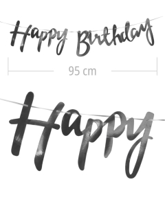 Aviso de happy birthday en letra cursiva y color plateado metalizado de 95 cm de ancho