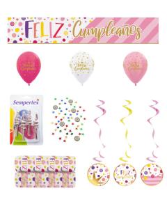 Kit Decoración Feliz Cumpleaños, Destellos