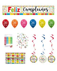Kit Decoración Feliz Cumpleaños, Puntos Multicolor