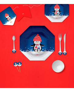 Kit de decoración de Feliz Navidad pingüino por 12 puestos grande