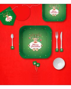 Kit de decoración de Reno Rojo por 12 puestos pequeño