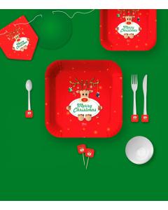 Kit de decoración de Reno Verde por 12 puestos pequeño