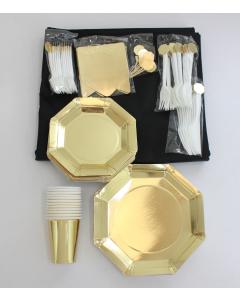 Kit Menaje Grande Dorado Platos Cubierto Mantel Negro