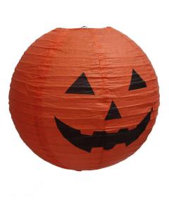 Lampara de papel de arroz naranja impresa con calabaza de halloween