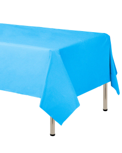 Mantel para decoración de mesa en tela cambre y color azul  de 250 por 160 centímetros