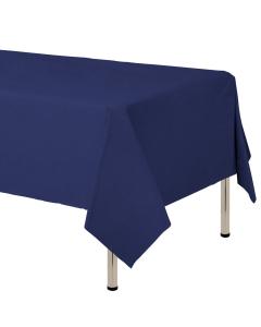 Mantel para decoración de mesa en tela cambre y color azul oscuro  de 250 por 160 centímetros