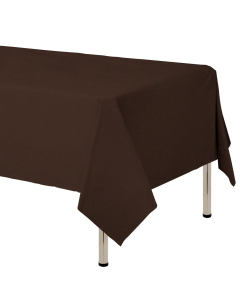 Mantel para decoración de mesa en tela cambre y color café oscuro  de 250 por 160 centímetros