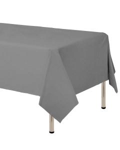 Mantel para decoración de mesa en tela cambre y color gris  de 250 por 160 centímetros