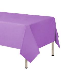 Mantel para decoración de mesa en tela cambre y color lila de 250 por 160 centímetros