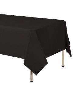 Mantel para decoración de mesa en tela cambre y color negro de 250 por 160 centímetros