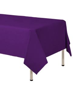 Mantel para decoración de mesa en tela cambre y color purpura  de 250 por 160 centímetros