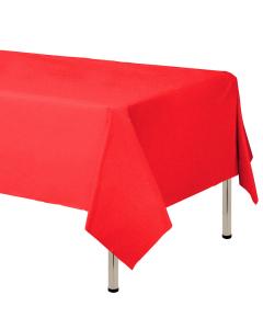 Mantel para decoración de mesa en tela cambre y color rojo  de 250 por 160 centímetros