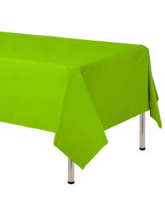 Mantel para decoración de mesa en tela cambre y color verde lima  de 250 por 160 centímetros