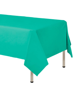 Mantel para decoración de mesa en tela cambre y color verde menta  de 250 por 160 centímetros
