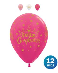 Paquete Globos Infinity Feliz Cumpleaños Coronas, Tonos Satín y Metal R-12 x 12 unds