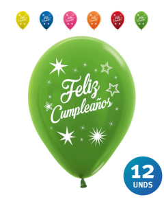 Paquete Globos Impresos Feliz Cumpleaños Destellos