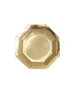 Plato Ortogonal Dorado Pequeño 17.5 cm en Cartón
