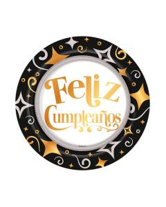 Plato de Feliz Cumpleaños dorado y negro