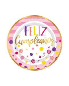 """Plato Feliz Cumpleaños, Destellos, Detalles Dorados por 8 unidades 7"""" Cartón"""