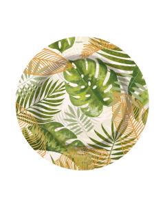 """Plato hojas tropicales 7"""" paquete de 8 unidades"""