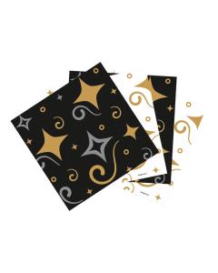 Servilletas Feliz Cumpleaños dorado y negro
