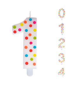 Vela Numérica Puntos Polka en Colores