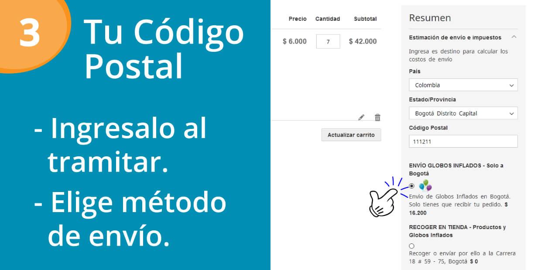 Ingresa tu código postal al tramitar el pedido y elige metodo de envío.