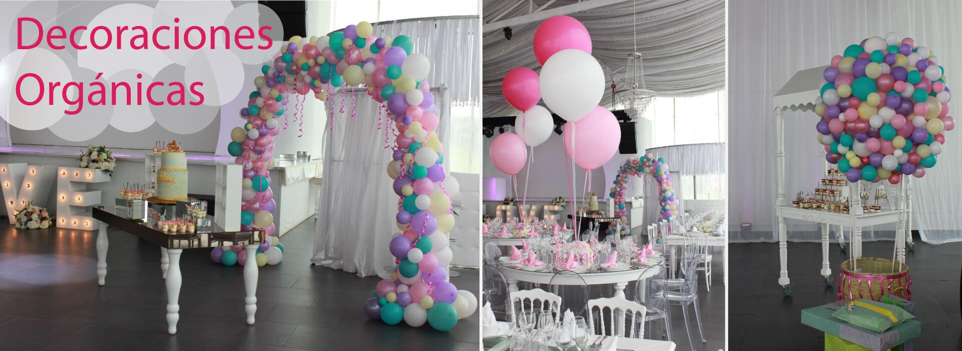 Decoracion Orgánica en globos de látex pasteles y satín, formando arcos y esferas irregulares, acompañados de bouquets gigantes en las mesas.