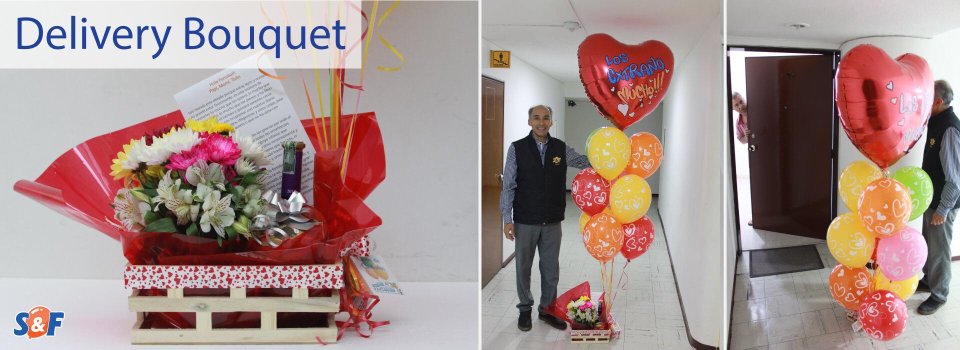 Delivery Bouquete, un servicio donde entregamos tu regalo acompañado de un arreglo (en globos de látex y microfoil) personalizados e inflados con Helio.