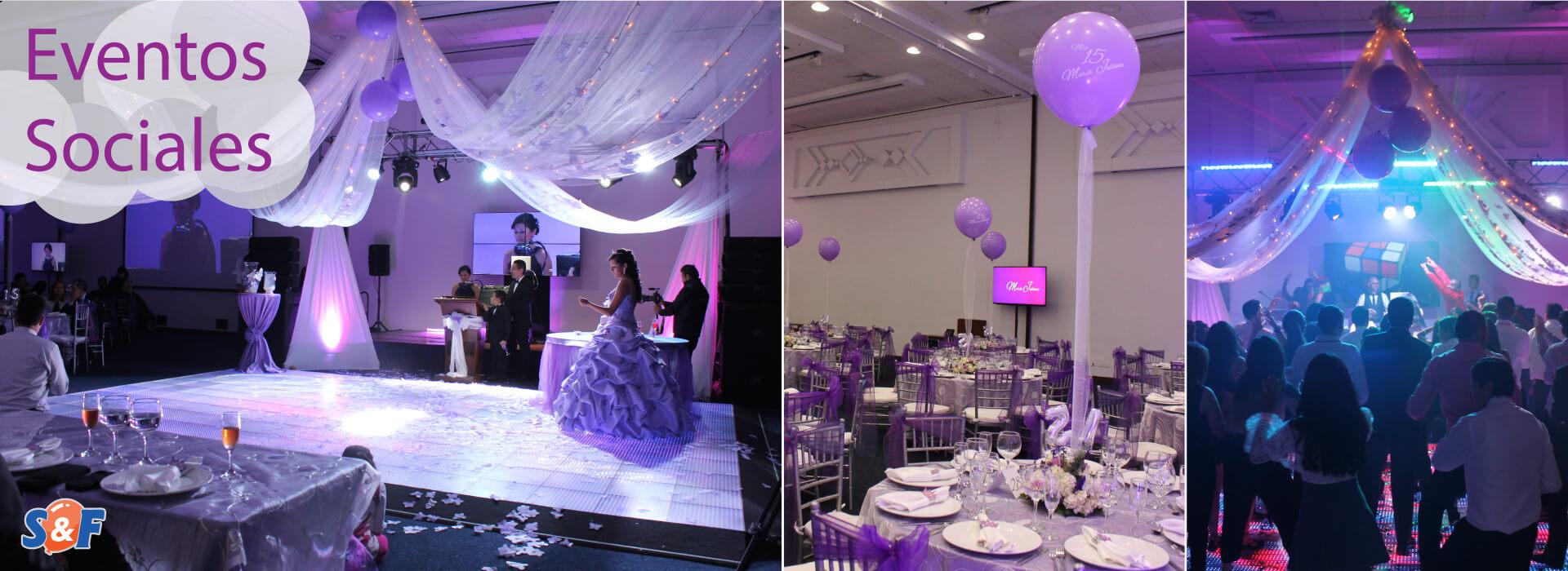 Evento Social de 15 Años Espectacular, con pista LED, pagoda, miniteca y decoración de ambiente en tonos lilas y fucsias