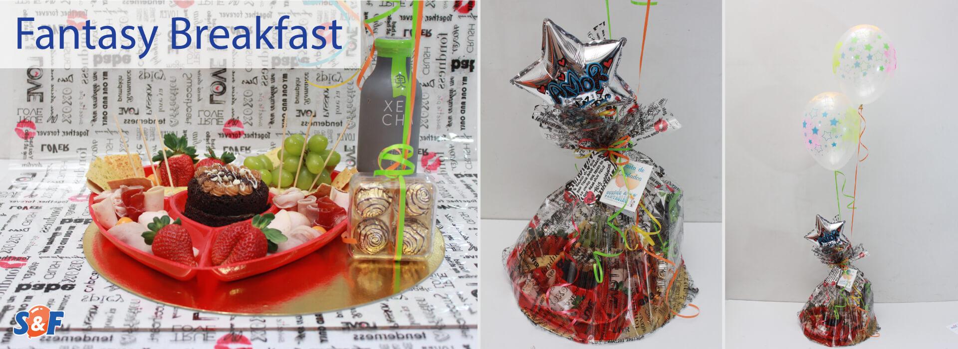 Fantasy Breakfats, Desayuno Goutmet con frutas, tabla de quesos, bebida y postre, con su bouquete de globos con helio y globo de microfoil personalizado.