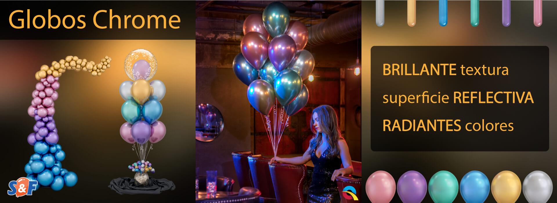 Los nuevos globos Chrome de Qualatex, con una superficie cromada, brillante, reluciente y en radiantes colores