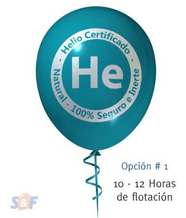 Globo de látex inflado con helio certificado y con un poder de flotación de 10 a 12 horas, desde el momento que es inflado