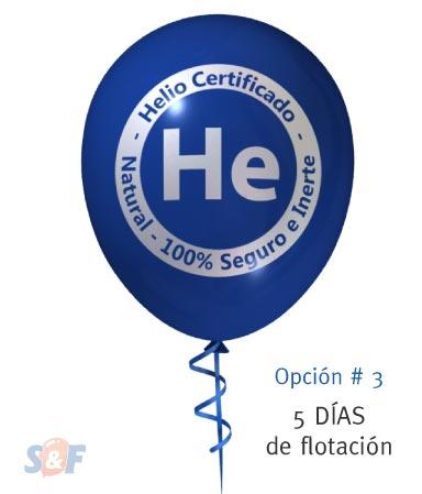 Globo de látex inflado con helio certificado y tratamiento, con un poder de flotación de 5 días, desde el momento que es inflado