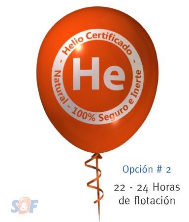 Globo de látex inflado con helio certificado y con un poder de flotación de 21 a 24 horas, desde el momento que es inflado