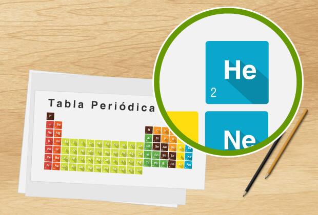 Tabla periódica destacando el gas Helio como rey de los gases nobles